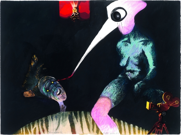 Michalis Arfaras, ,B movie,  2004, painting, collage, decollage, 78,6x105,5, courtesy: ekfrasi-yianna Grammatopoulou