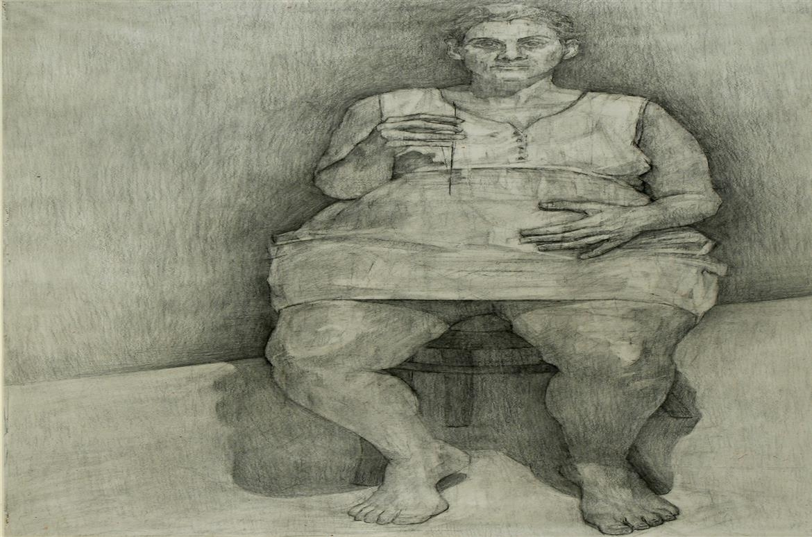 Stamatis Samakouris,  Μaro, 2004, coal, 115X80 cm, Courtesy, ARTOWERAGORA